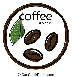 kávécserje, vectror, zöld, ábra, bab, háttér, fehér