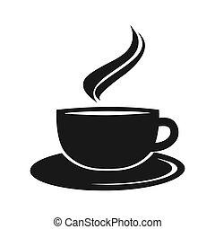 kávécserje, vektor, ábra, csésze