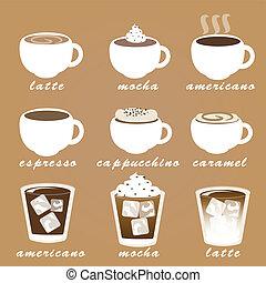 kávécserje, vektor, állhatatos