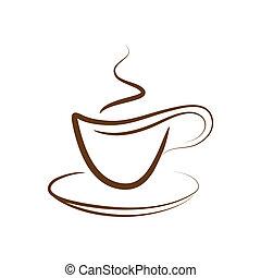 kávécserje, vektor, el, csésze