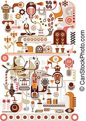 kávécserje, vektor, -, gyár, illustratio