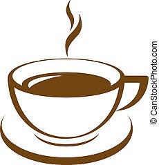 kávécserje, vektor, ikon, csésze