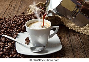 kávécserje, zsákvászon, csésze, kirúg, falusias, bab, pörkölt, asztal