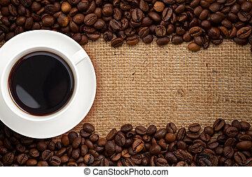 kávécserje, zsákvászon, háttér, csésze