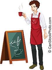 kávéház, dolgozó, ember