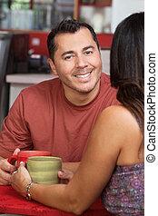 kávéház, hölgy, ember, jelentékeny