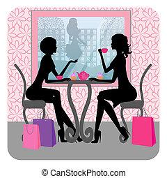 kávéház, lány, beszéd, gyönyörű