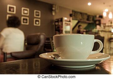 kávéscsésze, asztal, shop.