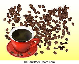 kávéscsésze, cofee, elszigetelt, háttér., bab, white piros