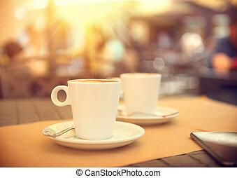 kávéscsésze, eszpresszókávé, reggel, terasz, cafe.