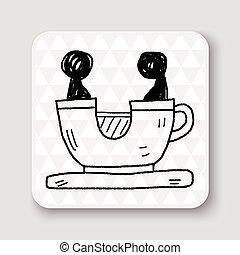 kávéscsésze, játék dísztér, szórakozottan firkálgat