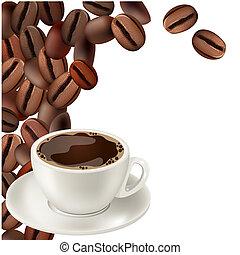 káva bob, a, číše k vzrušit se káva