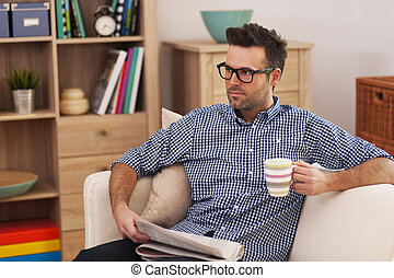 kávový šálek, ohnisko, noviny, portrét, voják