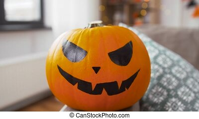 kã¼rbis, buchse-o-laterne, halloween, daheim