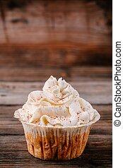kã¼rbis, cupcakes, dekoriert, mit, rahmkäsezuckerguß
