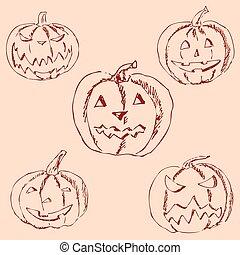 Bleistift Kã¼rbis Halloween Zeichnung Hand Bleistift Hand