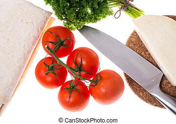 kã¤se, bread, suppengrün, tomaten, licht, heiß, schlanke, pita, machenden frühstück