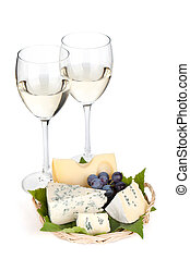 kã¤se, traube, und, zwei, weißwein, brille