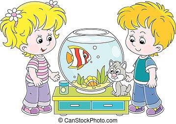 kã¤tzchen, kleine kinder, fische, aquarium
