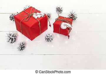 käglor, gåva, utrymme, trä, text., fura, bakgrund., rutor, vit, tabell., jul, röd