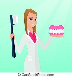 käke, dental, toothbrush., modell, tandläkare