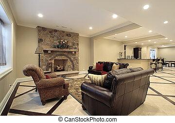 källarvåning, in, färsk, konstruktion, hem