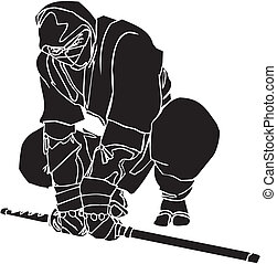 kämpe, illustration., -, vektor, vinyl-ready., ninja