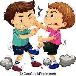kämpfen, knaben, junger, zwei