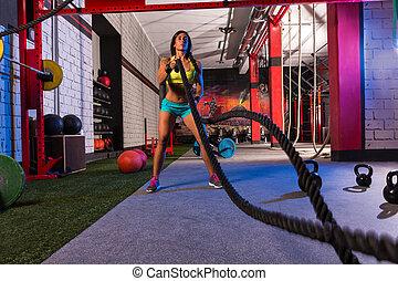 kämpfen, seile, m�dchen, an, turnhalle, workout, übung