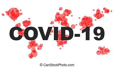 kämpfen, -, vector., coronavirus., begriff, covid-19