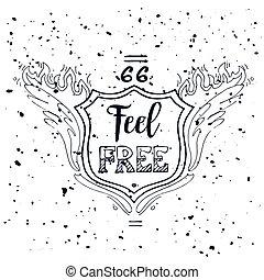 känna, 66., kort, årgång, oavgjord, inscription., grunge, affisch, motivational, gratis, hand, t-shirt, illustration, tryck, typography., illustration., lettering., väg, hälsning, väska, vektor, eller