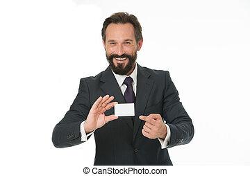 känna, gratis, till, kontakta, me., affärsman, lycklig, hålla, plastisk, tom, vit, card., affärsman, transporter, kreditera, card., bankrörelsen servar, för, business., beställnings- design, tillverkning, din, kort, unique., affärskort, design