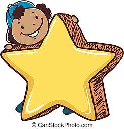 käpp, pojke, holdingen, a, stor stjärna, symbol