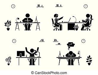käpp räkna, affärsfolk, ikon, sätta