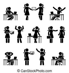 käpp räkna, affärsverksamhet kvinna, ikon, sätta