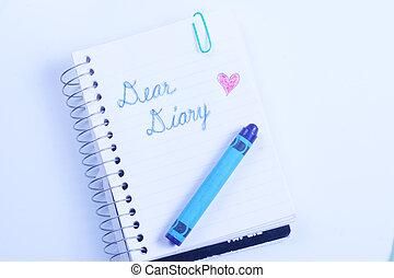 kär, anteckningsbok, dagbok