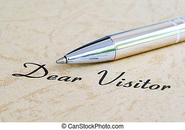 kär, besökare