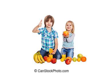kär, frukt, barn