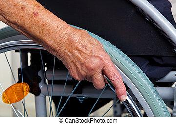 käring, in, a, rullstol, och, a, sköta