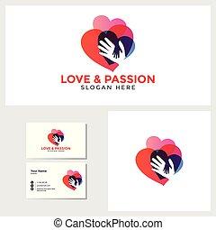 kärlek, affär, mockup, passion, mall, logo, design, kort