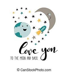 kärlek, baksida, måne, dig