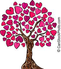 kärlek, begrepp, träd, kort