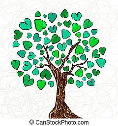 kärlek, begrepp, träd