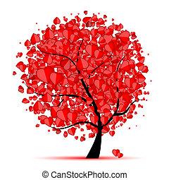 kärlek, blad, träd, hjärtan, valentinbrev