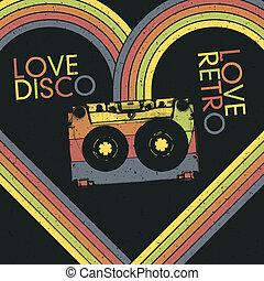 kärlek, disko, kärlek, retro., årgång, affisch, design,...