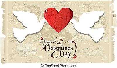 kärlek, duvor, valentinbrev