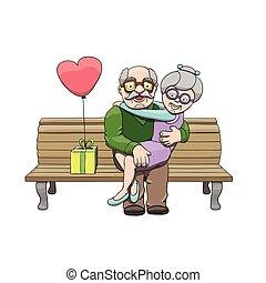 kärlek, farföräldrar, par, äldre, day., fira, vektor, illustration, medborgare, tecknad film, lycklig