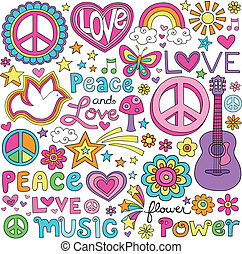 kärlek, fred, musik, anteckningsbok, doodles