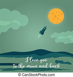 kärlek, hälsning, baksida, dig, måne, kort