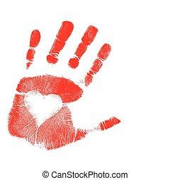 kärlek, hand tryck, /, vektor
